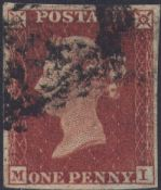 1852 1d Red SG11 Plate 158 'MI'